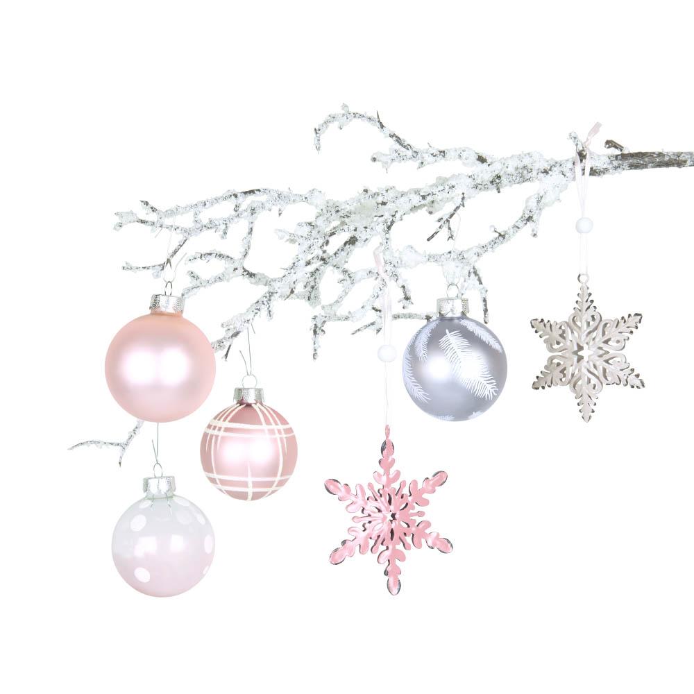 Weihnachtsbaumschmuck rosa silber