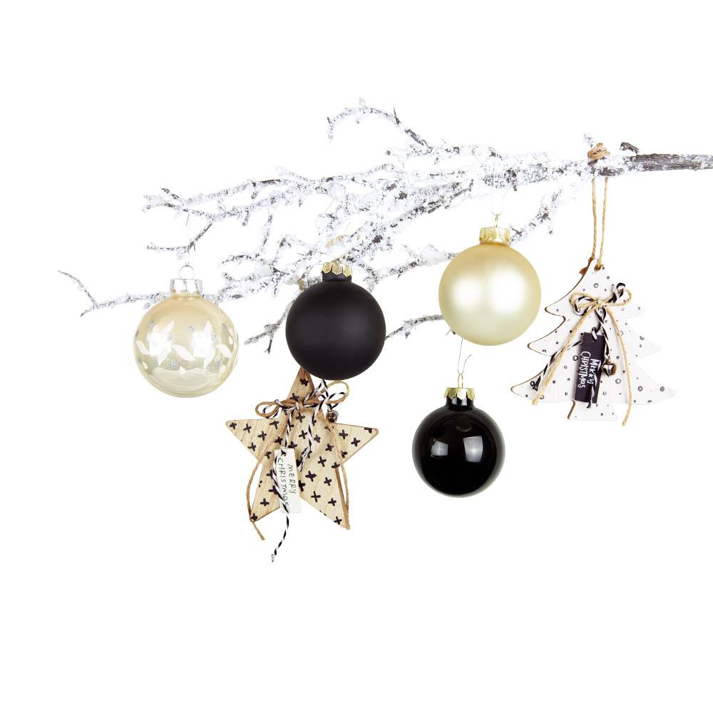 Weihnachtsbaumschmuck creme schwarz