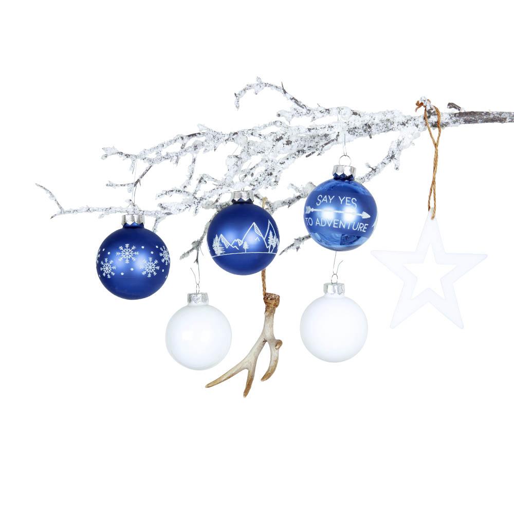 Weihnachtsbaumschmuck blau weiß