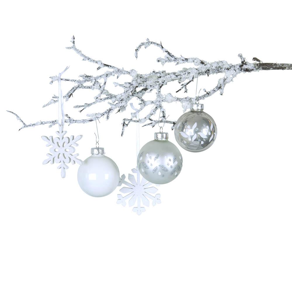 Weihnachtsbaumschmuck silber weiß