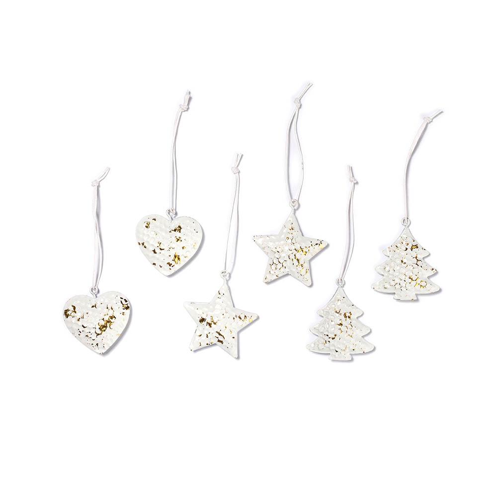 Weihnachtsbaumschmuck Herz Stern und Tannenbaum in weiß gold